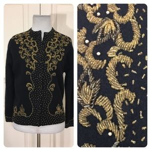 Vintage black beaded cardigan